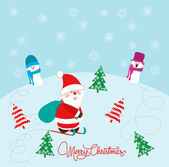 Christmas Card with Santa Claus, snowman and christmas trees — ストックベクタ