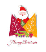 Christmas Card with Santa Claus, christmas trees and gift — ストックベクタ