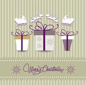 Tarjeta de navidad feliz con regalos — Vector de stock