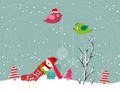 Feliz navidad tarjeta con muñeco de nieve — Vector de stock