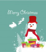 Merry christmas card with snowman and gift — ストックベクタ