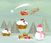 Merry christmas card with santa claus, snowman and gift — ストックベクタ