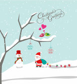 Merry christmas with santa claus, snowman and gift background — ストックベクタ