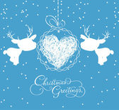 Merry christmas card with deer and ball heart — ストックベクタ