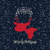 Merry christmas card with deer — Stock Vector