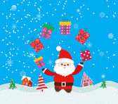 Merry christmas background with santa claus and gift — Stock Vector