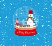 Christmas snowman globe — Vector de stock