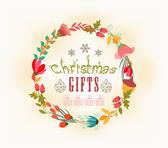 Tarjeta de navidad y año nuevo retro — Vector de stock