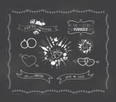 Chalkboard wedding, florals vintage set — Stock Vector