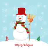 Fondo feliz navidad con muñeco de nieve — Vector de stock