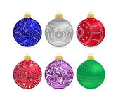 Christmas multicolor balls with bows isolated — Stock Vector