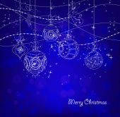 Blue Christmas Background With Christmas Ornaments — Stock Vector