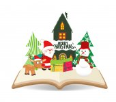 Merry christmas santa claus en sneeuwpop op boek — Stockvector