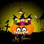 Halloween party children wearing costume — Stock Vector #55933877