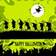 Halloween party background with children trick or treating — Stock Vector #55934395