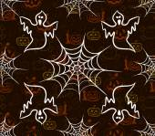 Halloween seamless pattern with webs and scarecrow — Stock Vector