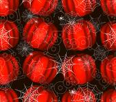 Seamless pattern with spider on webs pumpkins — Stockvector