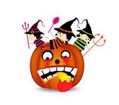 Halloween children wearing costume on pumpkin — Stock Vector