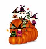 Halloween children wearing costume — Stock Vector