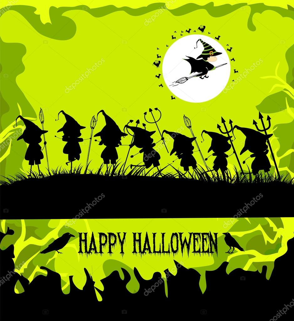 Halloween party background with children trick or treating — Stock ...