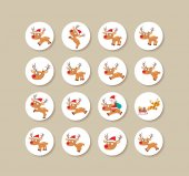 Collection Of deer christmas Labels And Icons — Stok Vektör