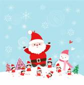 Christmas with santa claus and kids funny — Stock Vector