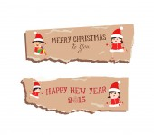 Merry christmas and happy new year paper — Stock Vector