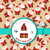 Retro christmas label with christmas house — Cтоковый вектор