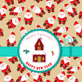 Retro christmas label with christmas house — Stock Vector
