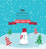 Christmas and happy new year with greeting card — Vetor de Stock