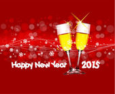 Happy new year 2015 with wine — Stock Vector
