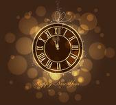 Happy New year gold clock — Stock Vector