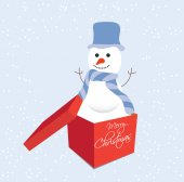 Snowman in gift box christmas — Vector de stock