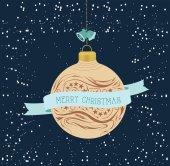 Vintage Christmas greeting card with ball — Stockvektor
