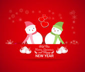 Happy new year with snowman — Stock Vector