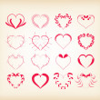 Set of decorative floral hearts — Stock Vector #61109387