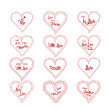 Valentine's greeting in hearts doodle frame set — Stock Vector #61109871