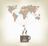 Coffee for global communication concept stock — 图库矢量图片