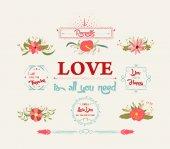 Floral amazing Love — ストックベクタ