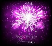 Happy new year background black and purple — Stock Vector