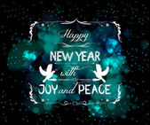 Happy new year with joy and peace greeting card — Stock Vector