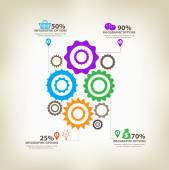 Infographic gears with axis — Stock Vector