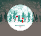 Merry christmas winter with snowman — Stock Vector