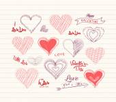 Valentine day Love hearts doodle set — Stock Vector