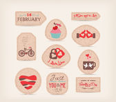 Valentine Love Gift Tags — Stock Vector