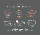 Valentines day labels chalkboard — Stock Vector
