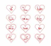Valentine's greeting in hearts doodle frame set — Stock Vector