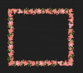 Vintage Flowers Rectangle Frame — Stock Vector