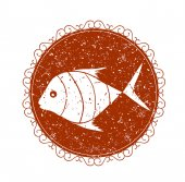 Vintage sign with fish — Stockvektor