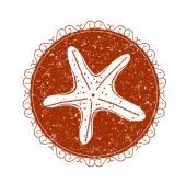 Vintage sign with starfish — Stockvektor